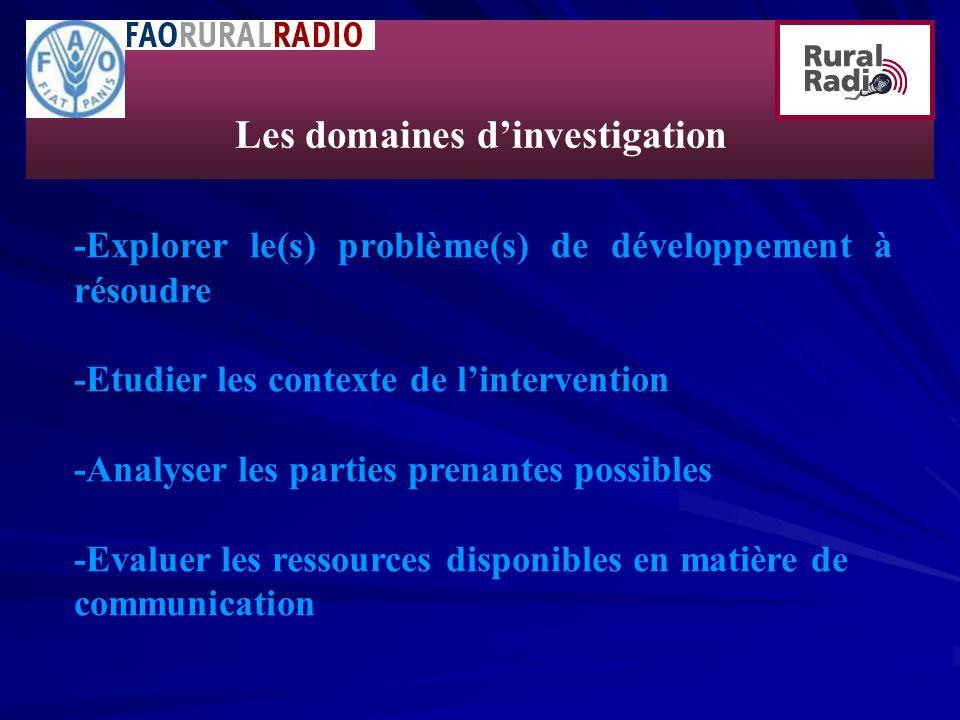 -Explorer le(s) problème(s) de développement à résoudre -Etudier les contexte de lintervention -Analyser les parties prenantes possibles -Evaluer les ressources disponibles en matière de communication Les domaines dinvestigation