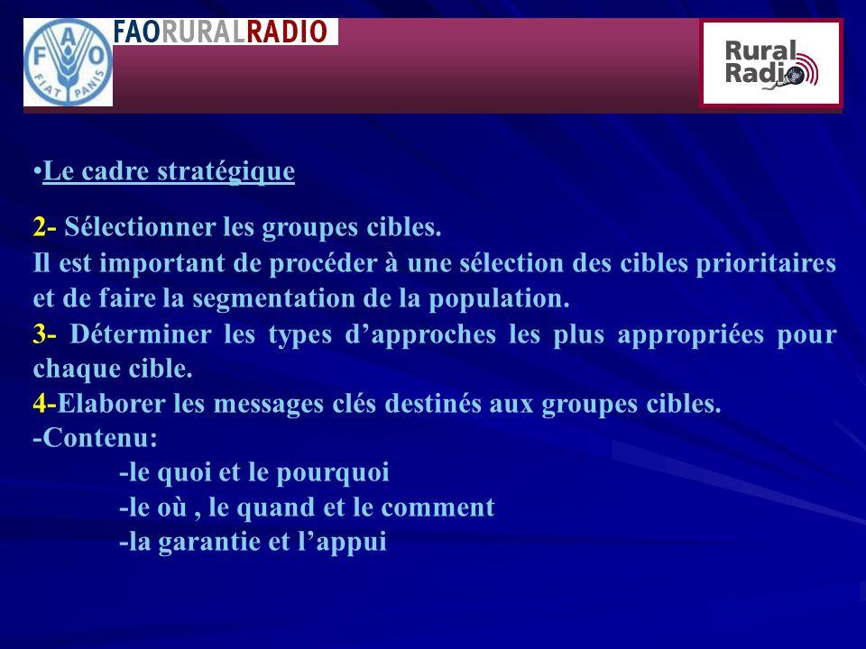 Le cadre stratégique 2- Sélectionner les groupes cibles.