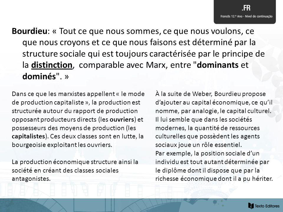 Bourdieu: « Tout ce que nous sommes, ce que nous voulons, ce que nous croyons et ce que nous faisons est déterminé par la structure sociale qui est to