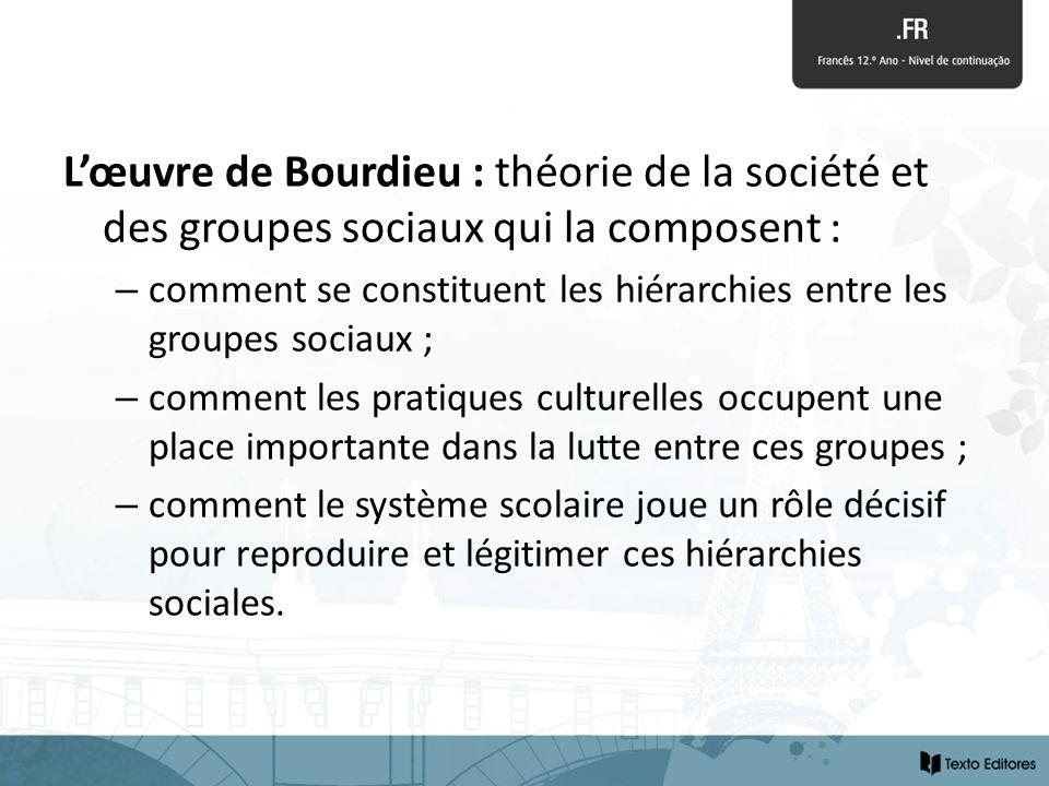 Lœuvre de Bourdieu : théorie de la société et des groupes sociaux qui la composent : – comment se constituent les hiérarchies entre les groupes sociau
