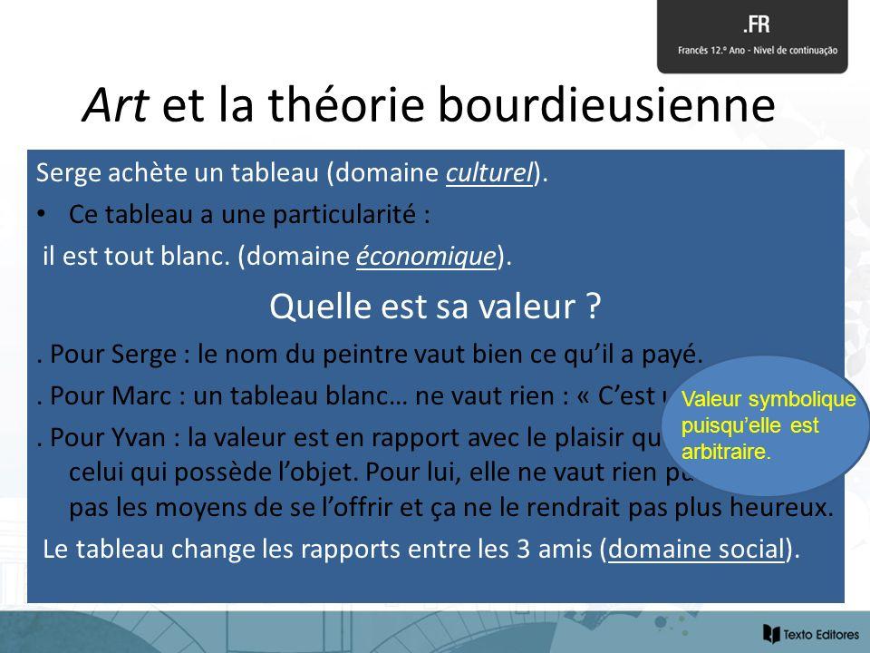 Art et la théorie bourdieusienne Serge achète un tableau (domaine culturel). Ce tableau a une particularité : il est tout blanc. (domaine économique).