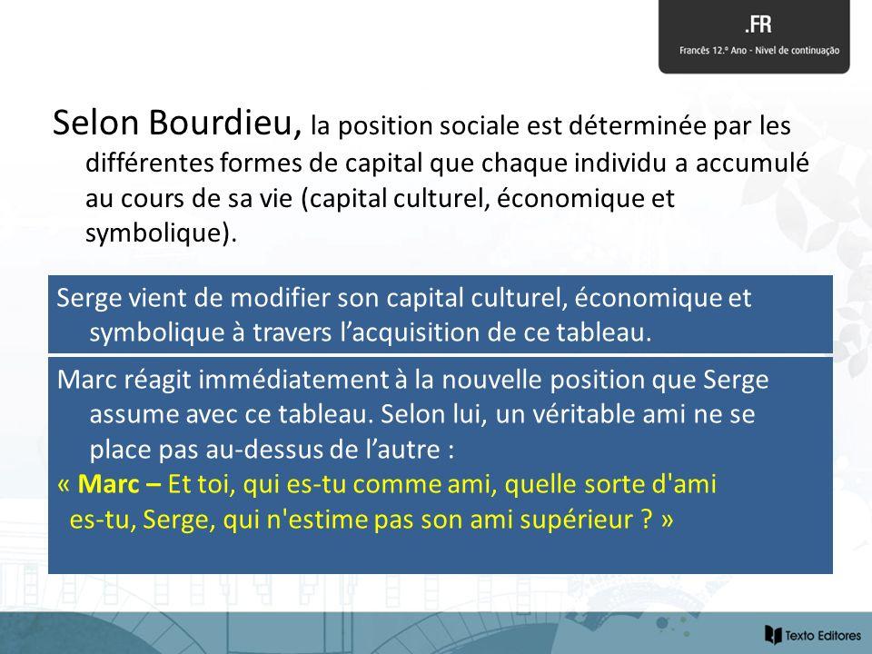 Selon Bourdieu, la position sociale est déterminée par les différentes formes de capital que chaque individu a accumulé au cours de sa vie (capital cu