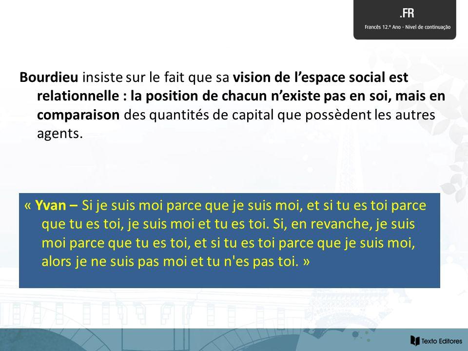 Bourdieu insiste sur le fait que sa vision de lespace social est relationnelle : la position de chacun nexiste pas en soi, mais en comparaison des qua