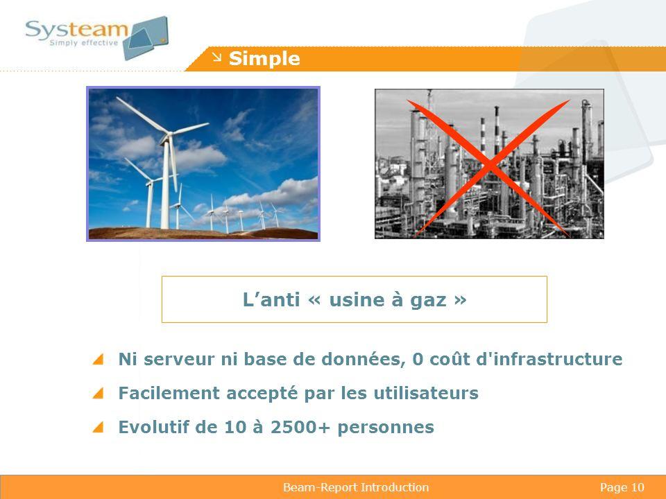 Beam-Report IntroductionPage 10 Simple Ni serveur ni base de données, 0 coût d infrastructure Facilement accepté par les utilisateurs Evolutif de 10 à 2500+ personnes Lanti « usine à gaz »