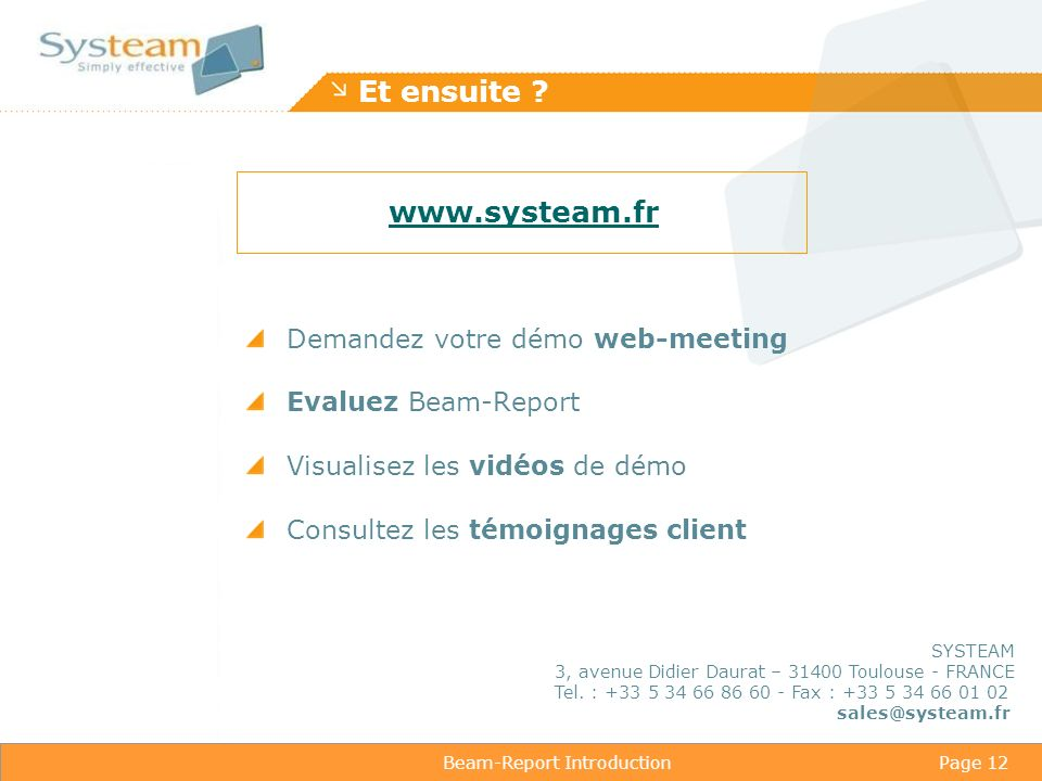 Beam-Report IntroductionPage 12 Et ensuite .