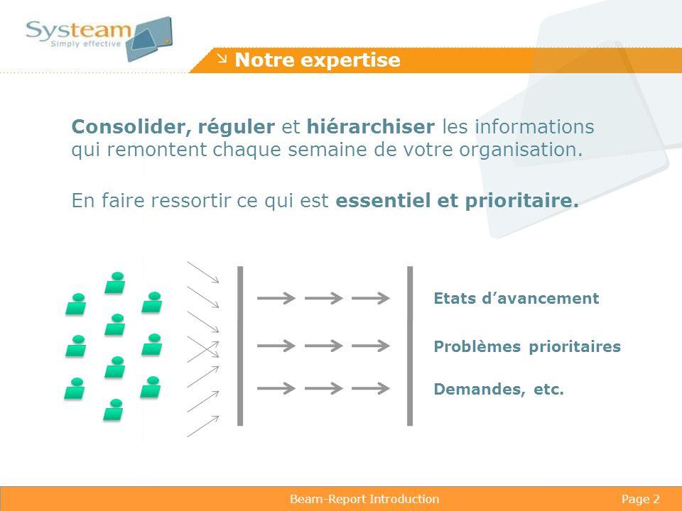 Beam-Report IntroductionPage 3 L essentiel et le prioritaire .