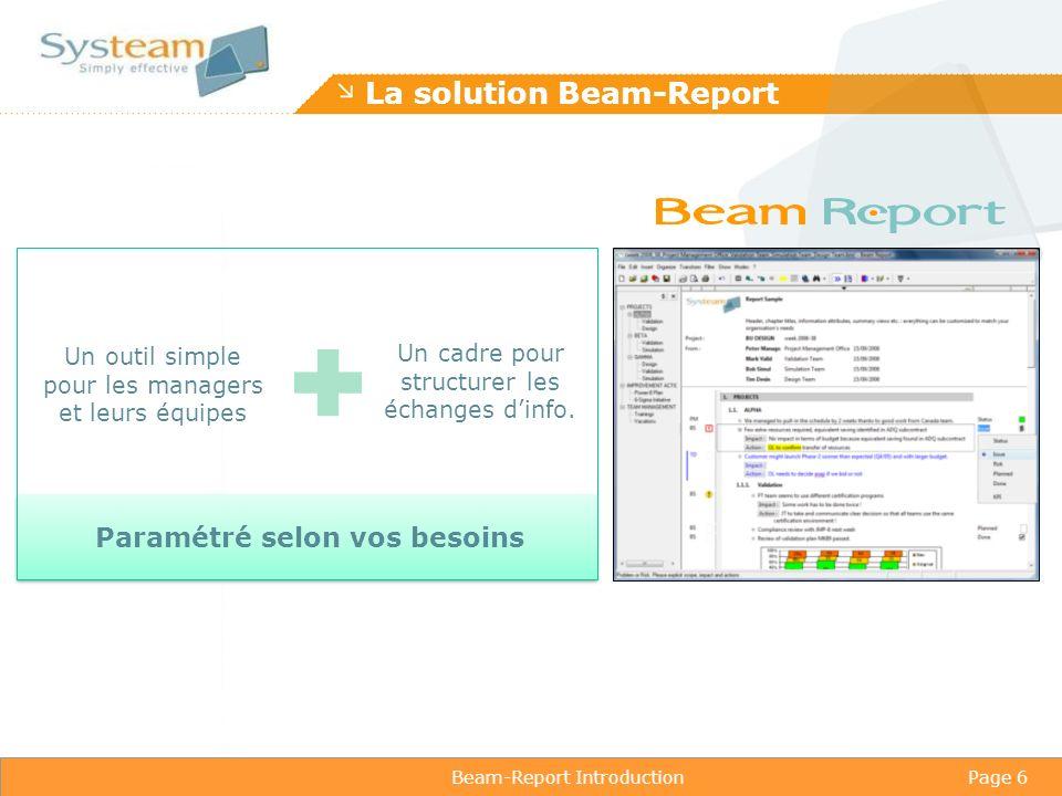 Beam-Report IntroductionPage 6 La solution Beam-Report Un outil simple pour les managers et leurs équipes Un cadre pour structurer les échanges dinfo.