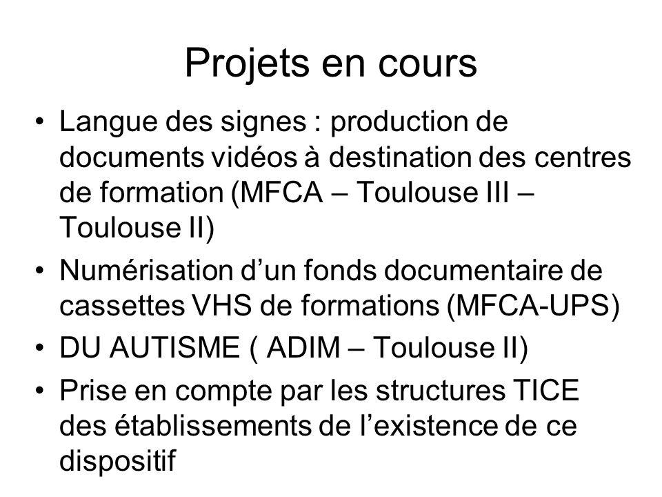 Projets en cours Langue des signes : production de documents vidéos à destination des centres de formation (MFCA – Toulouse III – Toulouse II) Numéris