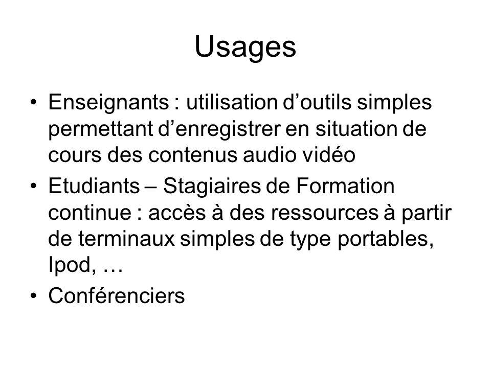 Usages Enseignants : utilisation doutils simples permettant denregistrer en situation de cours des contenus audio vidéo Etudiants – Stagiaires de Formation continue : accès à des ressources à partir de terminaux simples de type portables, Ipod, … Conférenciers