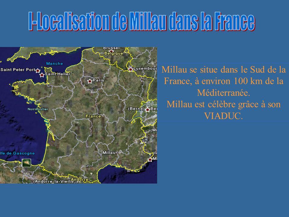 Millau se situe dans le Sud de la France, à environ 100 km de la Méditerranée.