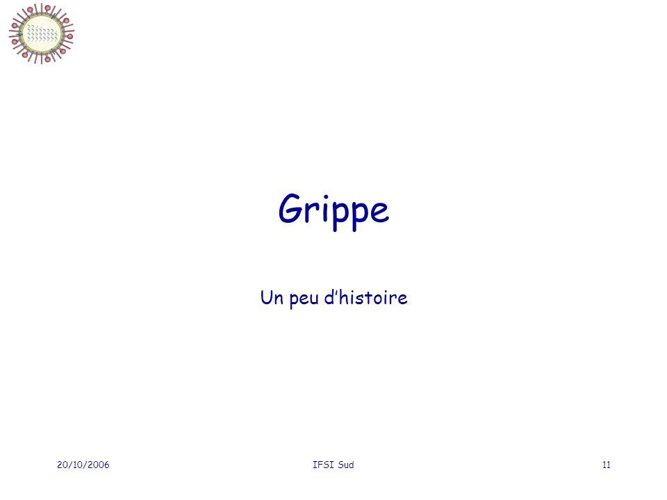 20/10/2006IFSI Sud11 Grippe Un peu dhistoire