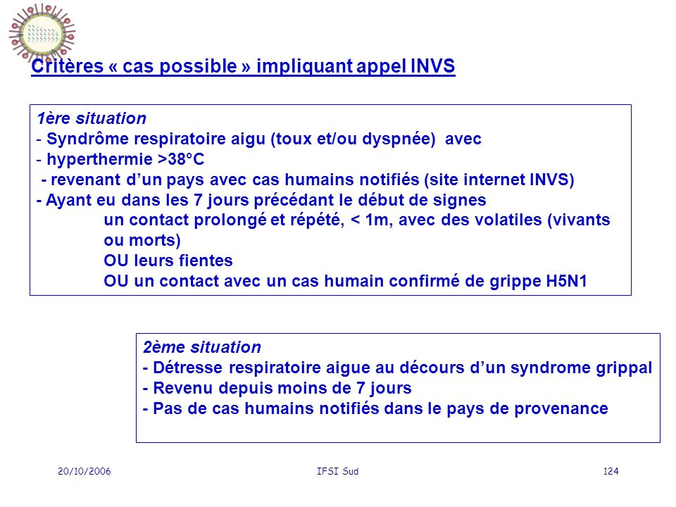 20/10/2006IFSI Sud124 1ère situation - Syndrôme respiratoire aigu (toux et/ou dyspnée) avec - hyperthermie >38°C - revenant dun pays avec cas humains notifiés (site internet INVS) - Ayant eu dans les 7 jours précédant le début de signes un contact prolongé et répété, < 1m, avec des volatiles (vivants ou morts) OU leurs fientes OU un contact avec un cas humain confirmé de grippe H5N1 2ème situation - Détresse respiratoire aigue au décours dun syndrome grippal - Revenu depuis moins de 7 jours - Pas de cas humains notifiés dans le pays de provenance Critères « cas possible » impliquant appel INVS