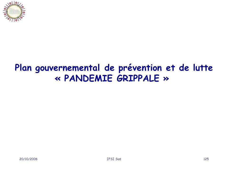 20/10/2006IFSI Sud125 Plan gouvernemental de prévention et de lutte « PANDEMIE GRIPPALE »