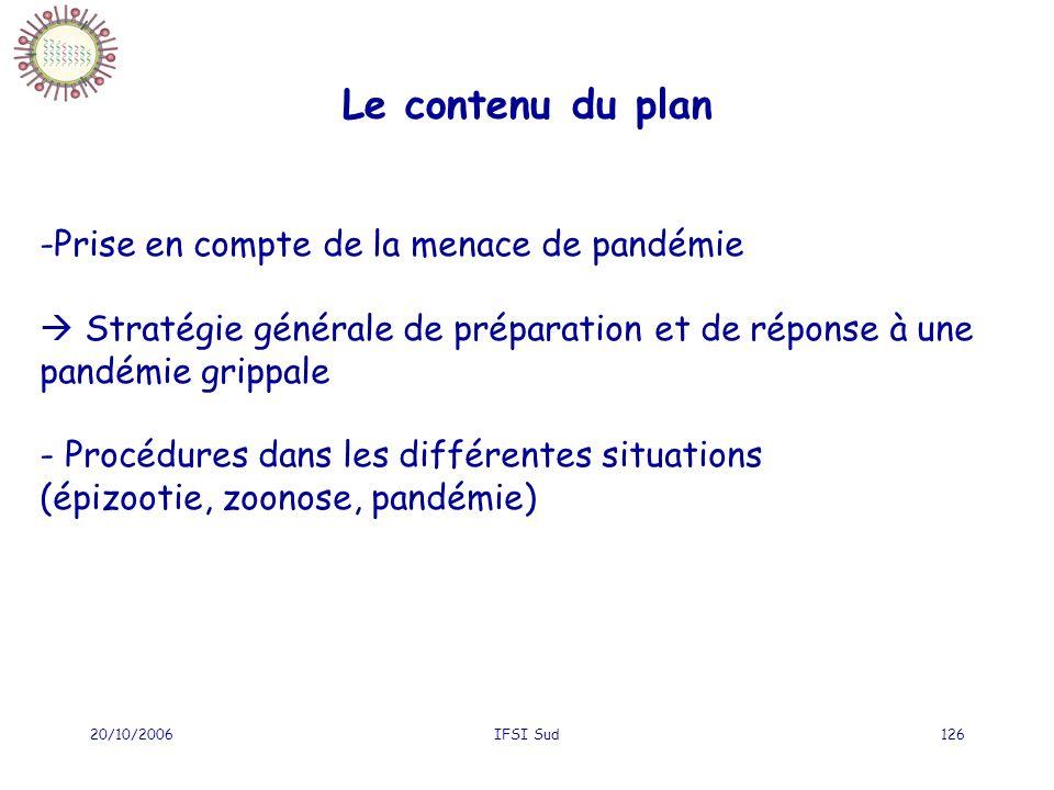 20/10/2006IFSI Sud126 Le contenu du plan -Prise en compte de la menace de pandémie Stratégie générale de préparation et de réponse à une pandémie grippale - Procédures dans les différentes situations (épizootie, zoonose, pandémie)