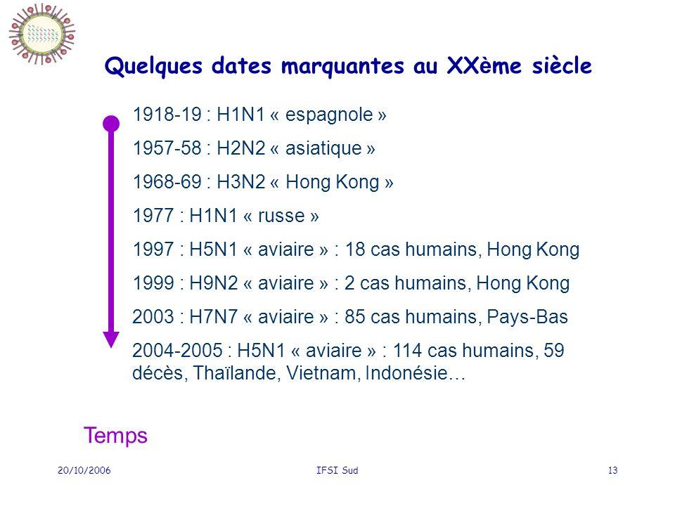 20/10/2006IFSI Sud13 Quelques dates marquantes au XX è me siècle 1918-19 : H1N1 « espagnole » 1957-58 : H2N2 « asiatique » 1968-69 : H3N2 « Hong Kong » 1977 : H1N1 « russe » 1997 : H5N1 « aviaire » : 18 cas humains, Hong Kong 1999 : H9N2 « aviaire » : 2 cas humains, Hong Kong 2003 : H7N7 « aviaire » : 85 cas humains, Pays-Bas 2004-2005 : H5N1 « aviaire » : 114 cas humains, 59 décès, Thaïlande, Vietnam, Indonésie… Temps