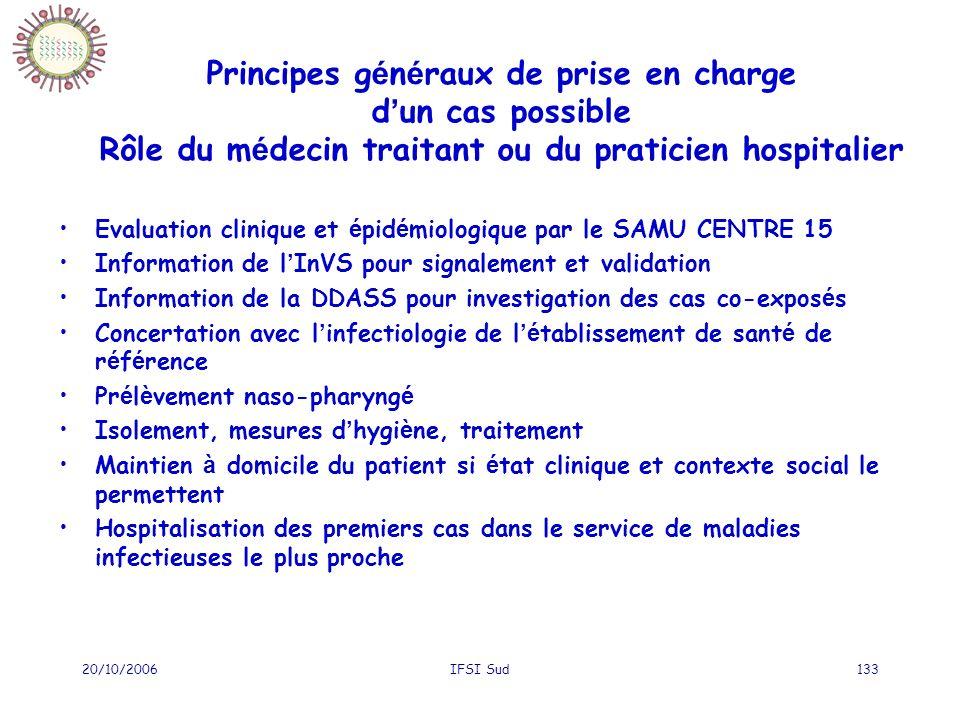 20/10/2006IFSI Sud133 Principes g é n é raux de prise en charge d un cas possible Rôle du m é decin traitant ou du praticien hospitalier Evaluation cl