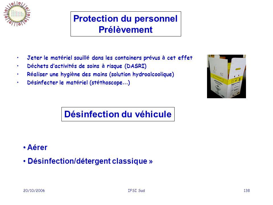 20/10/2006IFSI Sud138 Jeter le mat é riel souill é dans les containers pr é vus à cet effet D é chets d activit é s de soins à risque (DASRI) R é alis