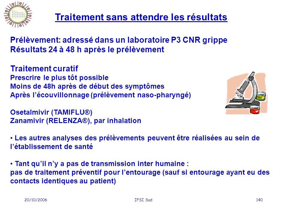 20/10/2006IFSI Sud140 Traitement sans attendre les résultats Prélèvement: adressé dans un laboratoire P3 CNR grippe Résultats 24 à 48 h après le prélè