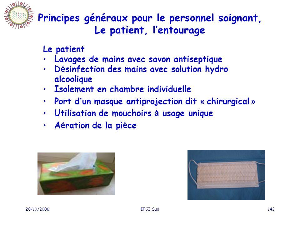 20/10/2006IFSI Sud142 Le patient Lavages de mains avec savon antiseptique D é sinfection des mains avec solution hydro alcoolique Isolement en chambre