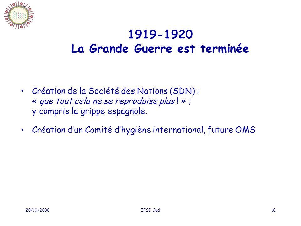 20/10/2006IFSI Sud18 1919-1920 La Grande Guerre est terminée Création de la Société des Nations (SDN) : « que tout cela ne se reproduise plus ! » ; y