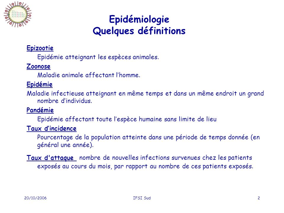 20/10/2006IFSI Sud2 Epidémiologie Quelques définitions Epizootie Epidémie atteignant les espèces animales.