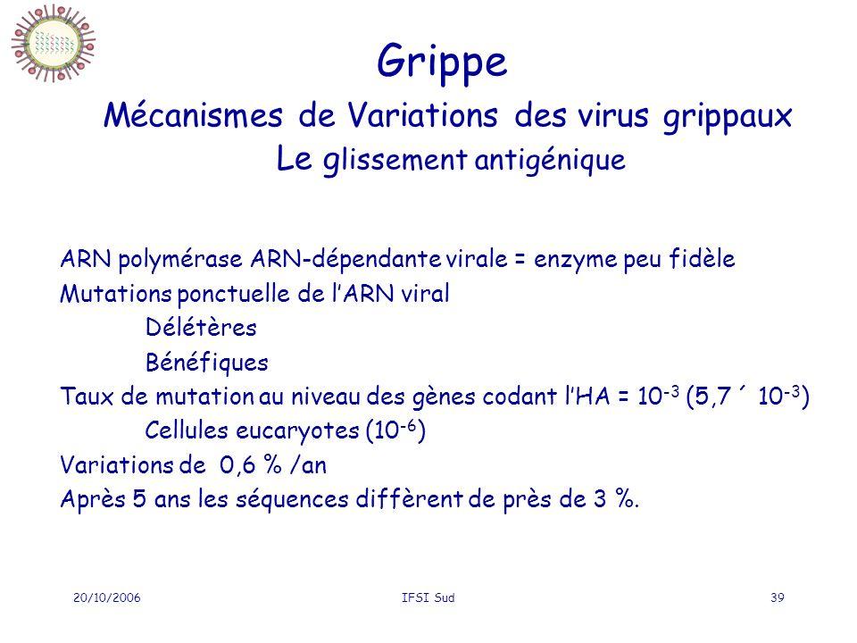 20/10/2006IFSI Sud39 Grippe Mécanismes de Variations des virus grippaux Le g lissement antigénique ARN polymérase ARN-dépendante virale = enzyme peu fidèle Mutations ponctuelle de lARN viral Délétères Bénéfiques Taux de mutation au niveau des gènes codant lHA = 10 -3 (5,7 ´ 10 -3 ) Cellules eucaryotes (10 -6 ) Variations de 0,6 % /an Après 5 ans les séquences diffèrent de près de 3 %.