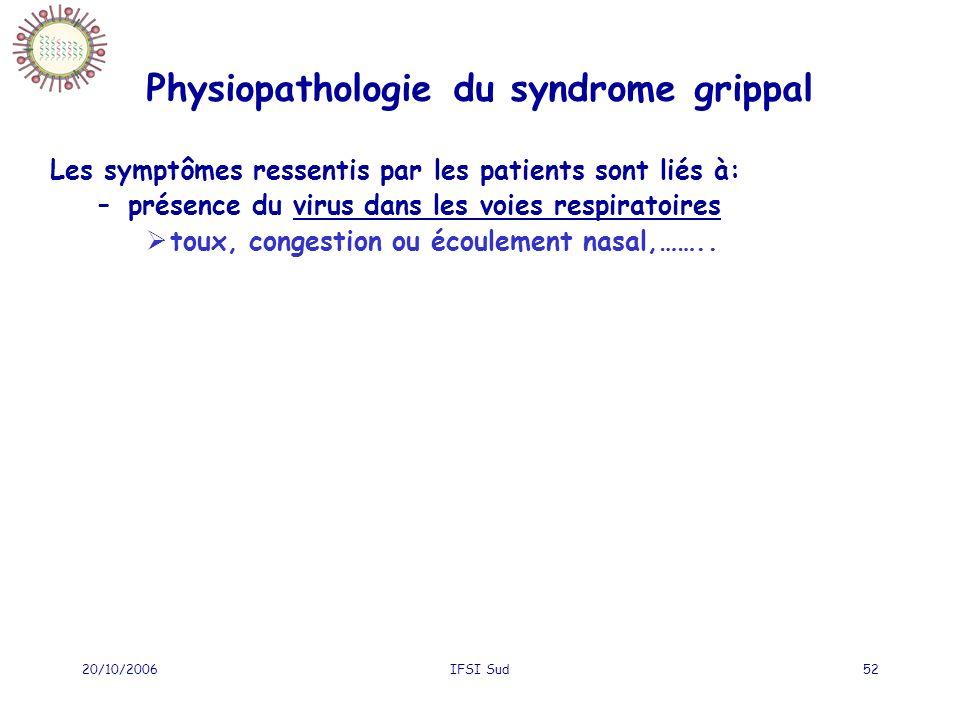 20/10/2006IFSI Sud52 Physiopathologie du syndrome grippal Les symptômes ressentis par les patients sont liés à: –présence du virus dans les voies respiratoires toux, congestion ou écoulement nasal,……..