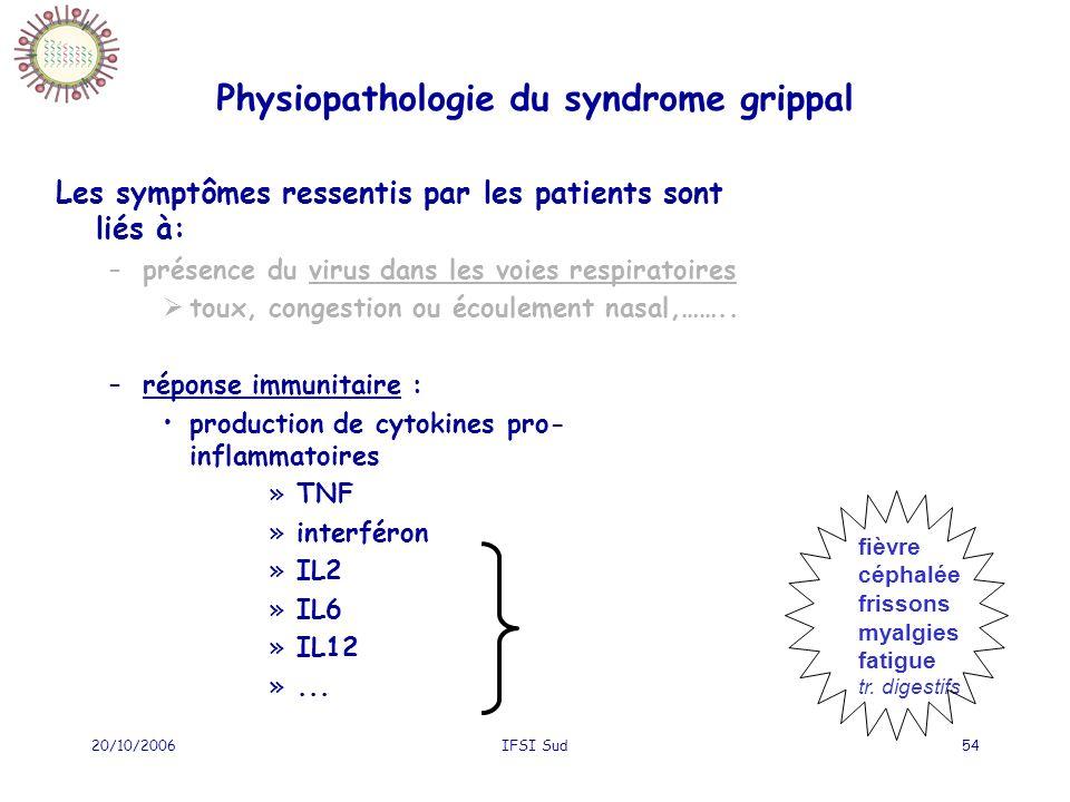 20/10/2006IFSI Sud54 Physiopathologie du syndrome grippal Les symptômes ressentis par les patients sont liés à: –présence du virus dans les voies respiratoires toux, congestion ou écoulement nasal,……..