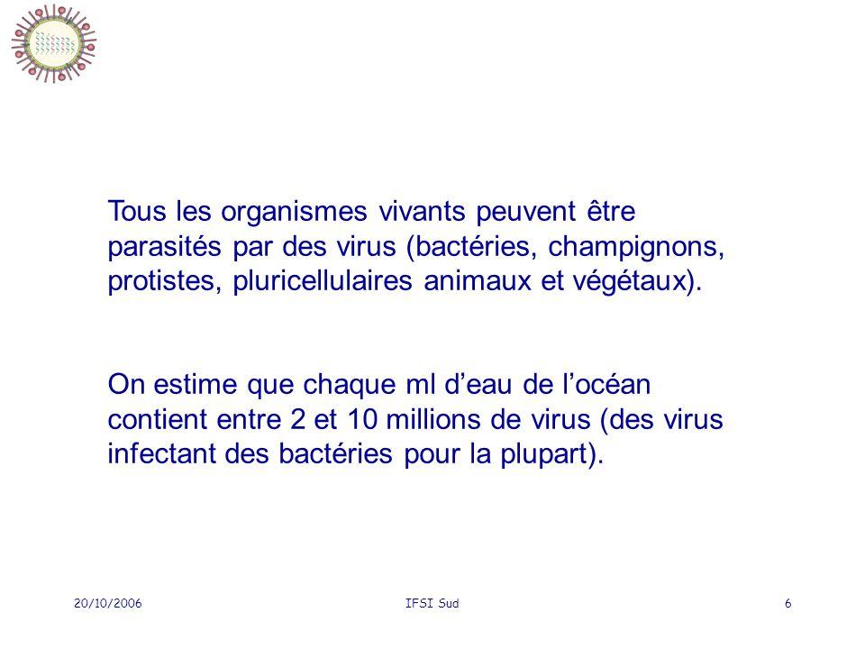 20/10/2006IFSI Sud6 Tous les organismes vivants peuvent être parasités par des virus (bactéries, champignons, protistes, pluricellulaires animaux et végétaux).