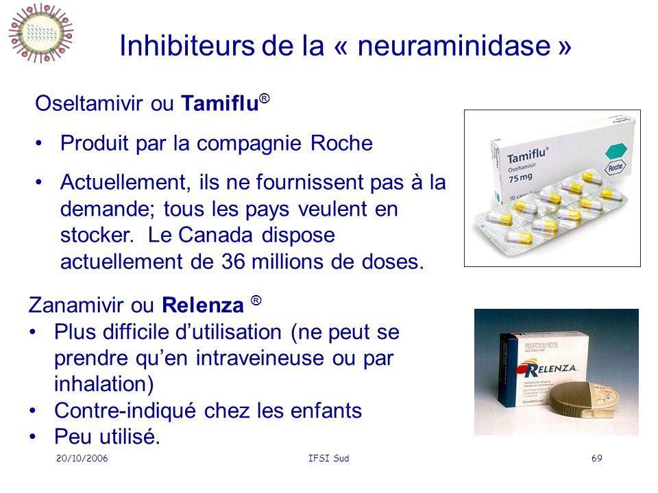 20/10/2006IFSI Sud69 Inhibiteurs de la « neuraminidase » Oseltamivir ou Tamiflu ® Produit par la compagnie Roche Actuellement, ils ne fournissent pas à la demande; tous les pays veulent en stocker.