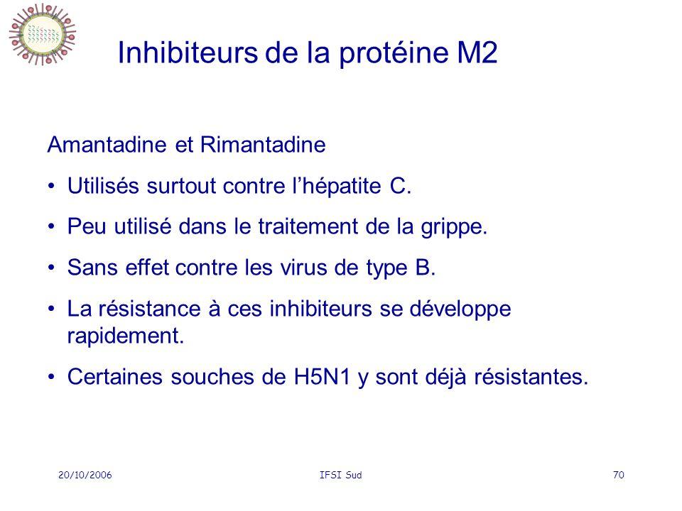 20/10/2006IFSI Sud70 Amantadine et Rimantadine Utilisés surtout contre lhépatite C. Peu utilisé dans le traitement de la grippe. Sans effet contre les