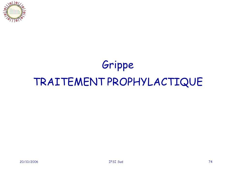 20/10/2006IFSI Sud74 Grippe TRAITEMENT PROPHYLACTIQUE