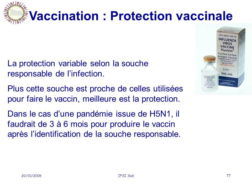 20/10/2006IFSI Sud77 La protection variable selon la souche responsable de linfection. Plus cette souche est proche de celles utilisées pour faire le