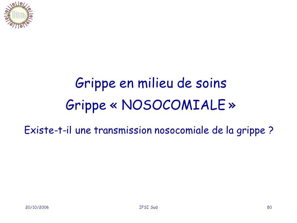 20/10/2006IFSI Sud80 Grippe en milieu de soins Grippe « NOSOCOMIALE » Existe-t-il une transmission nosocomiale de la grippe ?