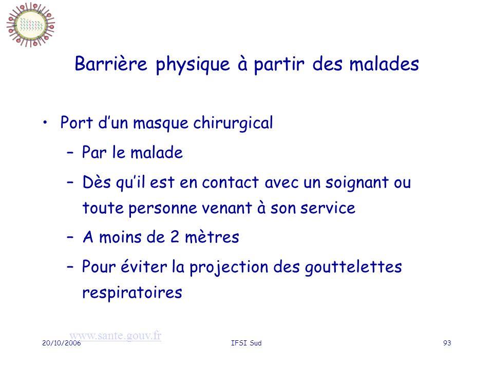 20/10/2006IFSI Sud93 Barrière physique à partir des malades Port dun masque chirurgical –Par le malade –Dès quil est en contact avec un soignant ou to
