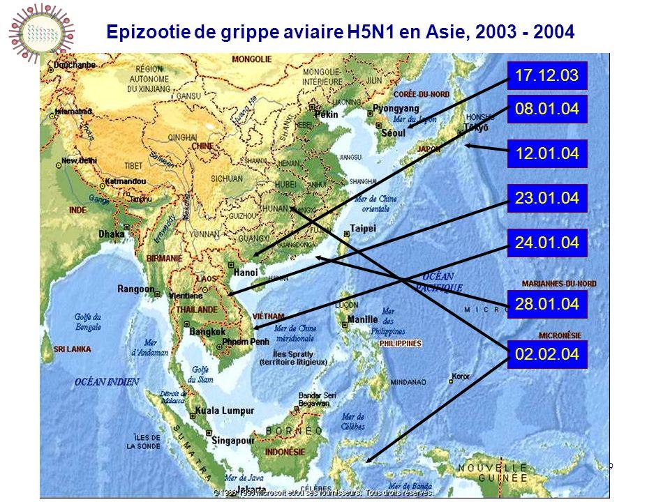 20/10/2006IFSI Sud99 17.12.0308.01.0412.01.0423.01.0424.01.04 28.01.04 02.02.04 Epizootie de grippe aviaire H5N1 en Asie, 2003 - 2004