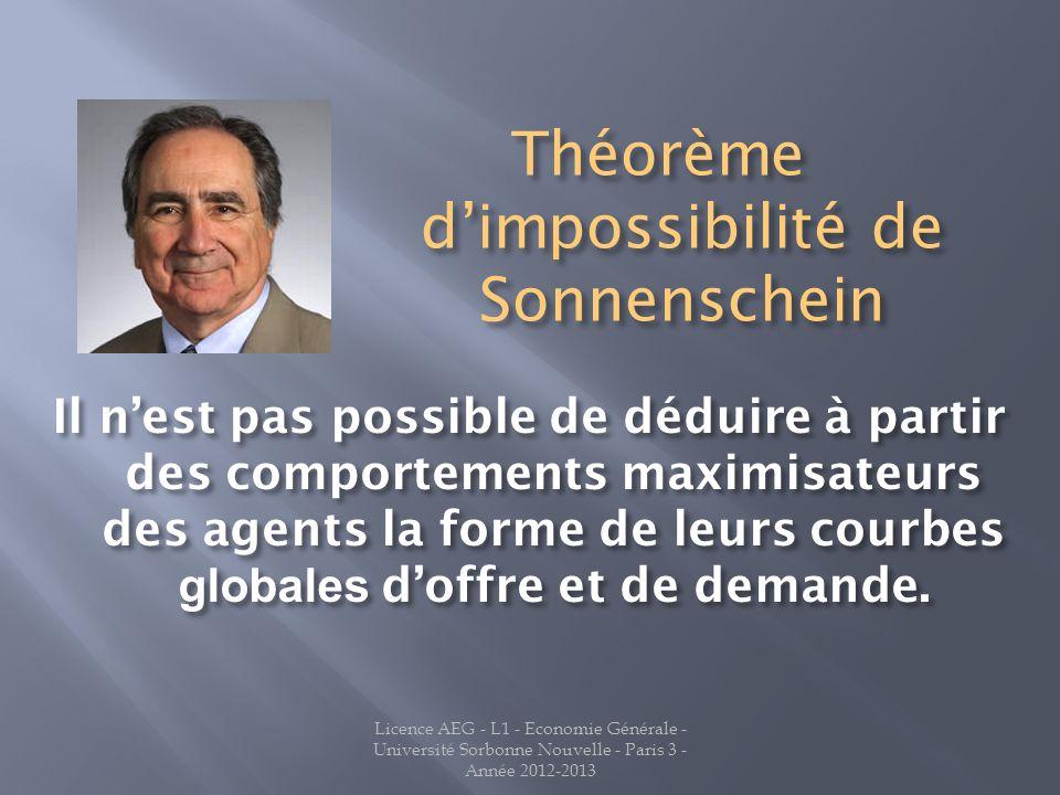 Licence AEG - L1 - Economie Générale - Université Sorbonne Nouvelle - Paris 3 - Année 2012-2013 Il nest pas possible de déduire à partir des comportements maximisateurs des agents la forme de leurs courbes globales doffre et de demande.