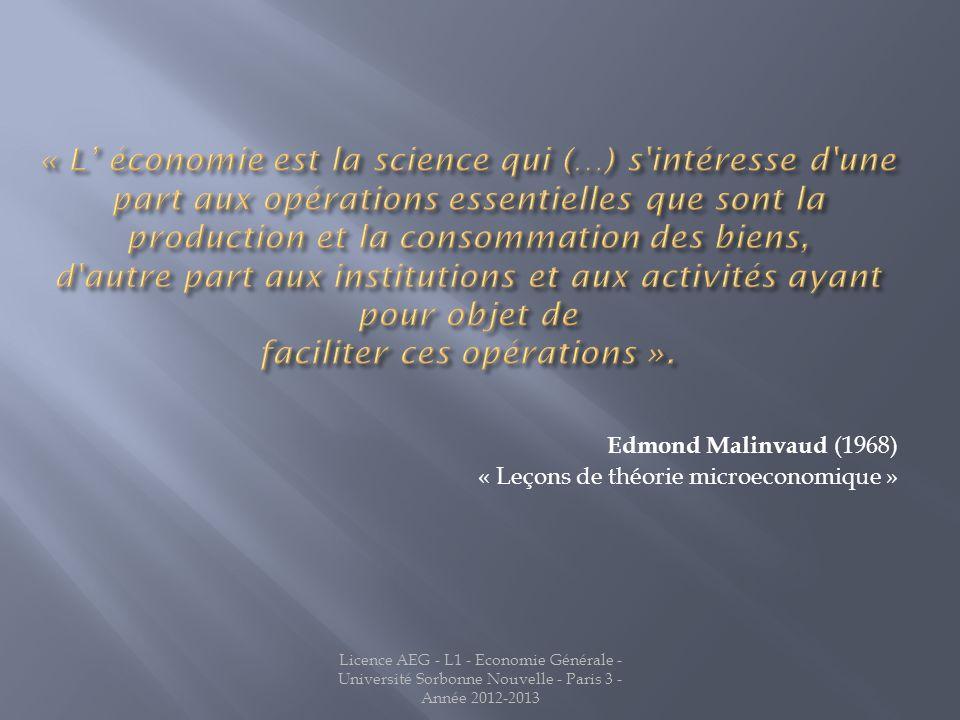 Edmond Malinvaud (1968) « Leçons de théorie microeconomique » Licence AEG - L1 - Economie Générale - Université Sorbonne Nouvelle - Paris 3 - Année 2012-2013