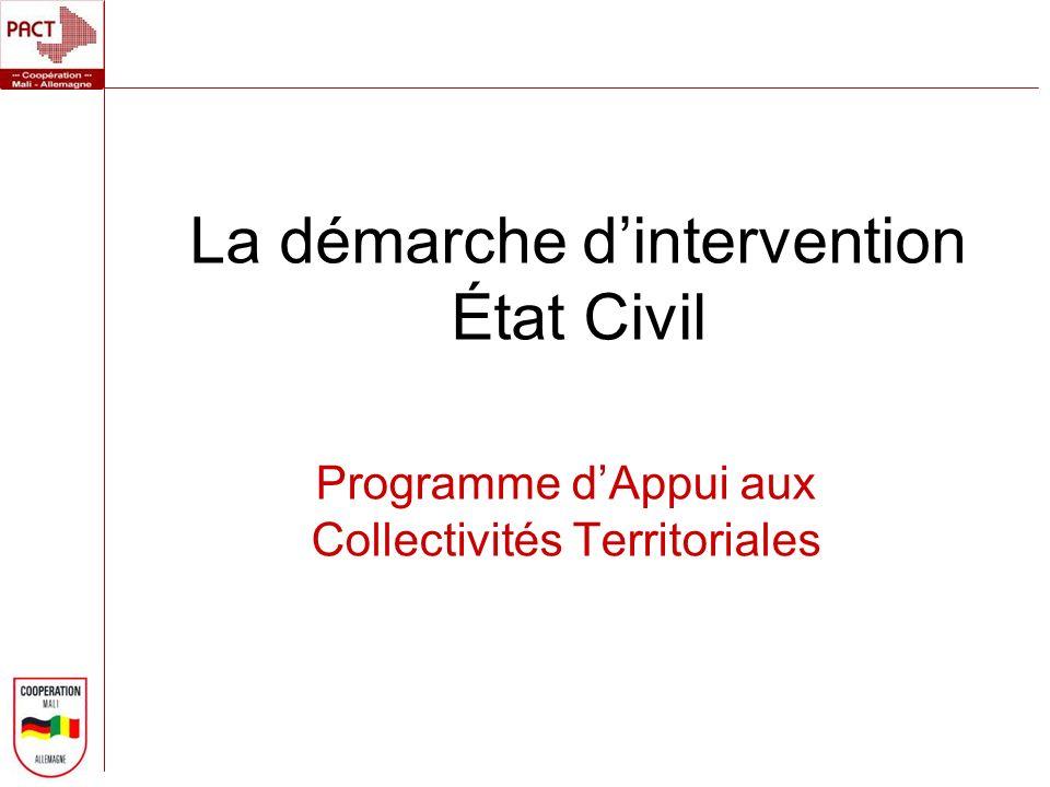La démarche dintervention État Civil Programme dAppui aux Collectivités Territoriales