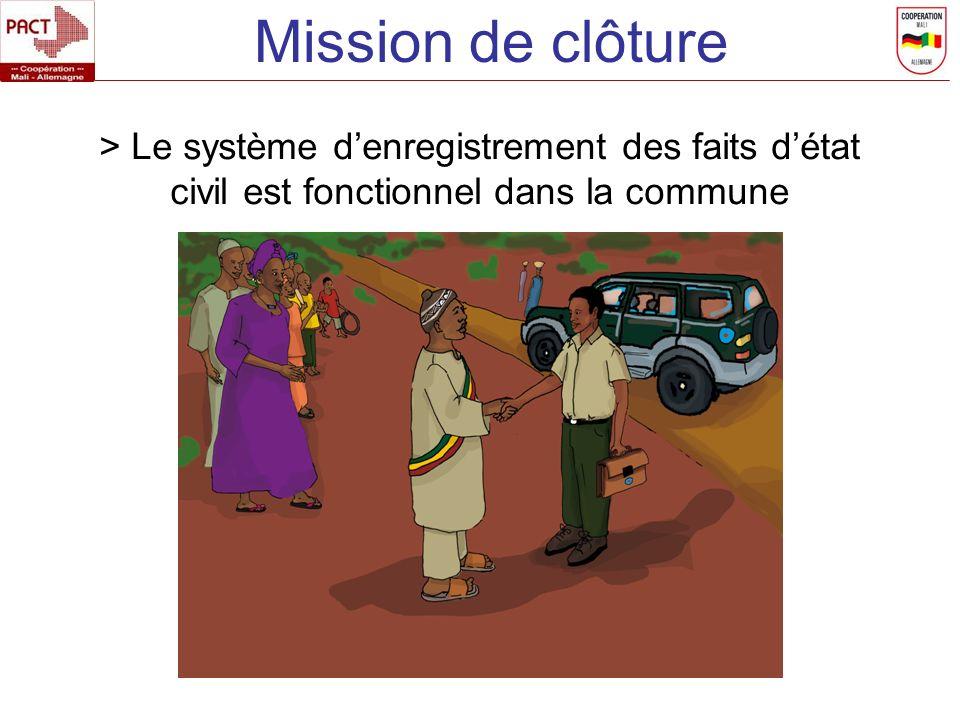 > Le système denregistrement des faits détat civil est fonctionnel dans la commune Mission de clôture