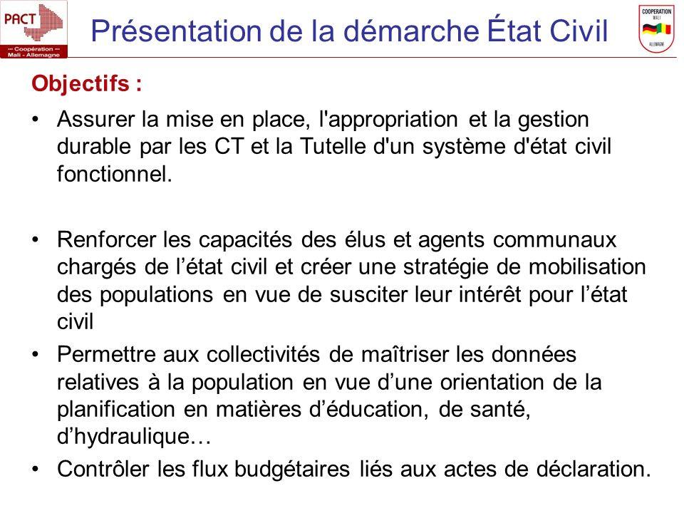 Présentation de la démarche État Civil Objectifs : Assurer la mise en place, l'appropriation et la gestion durable par les CT et la Tutelle d'un systè