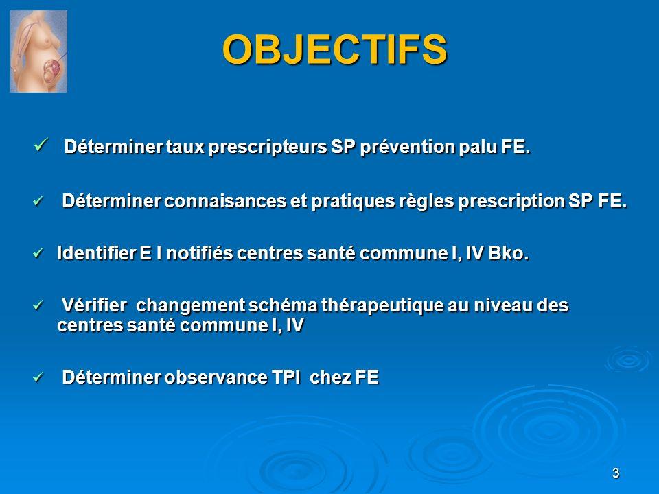 OBJECTIFS Déterminer taux prescripteurs SP prévention palu FE. Déterminer taux prescripteurs SP prévention palu FE. Déterminer connaisances et pratiqu