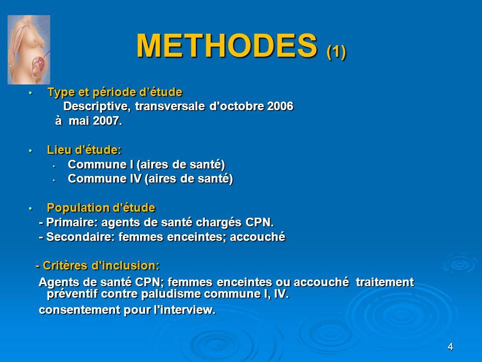 METHODES (1) Type et période détude Type et période détude Descriptive, transversale d'octobre 2006 Descriptive, transversale d'octobre 2006 à mai 200