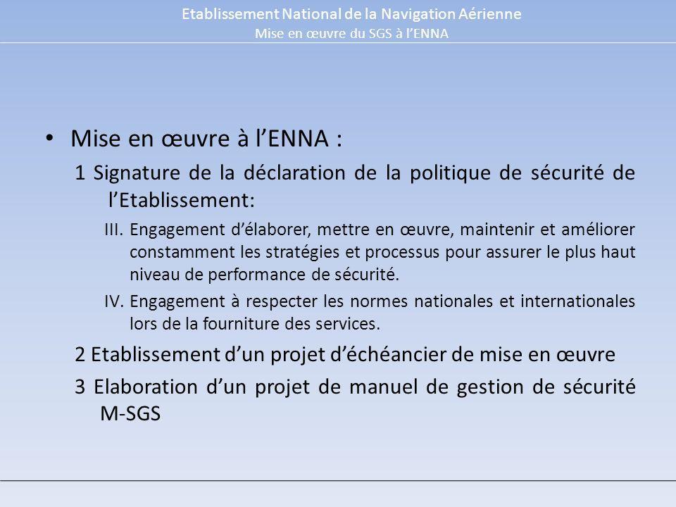 Mise en œuvre à lENNA : 1 Signature de la déclaration de la politique de sécurité de lEtablissement: III.Engagement délaborer, mettre en œuvre, maintenir et améliorer constamment les stratégies et processus pour assurer le plus haut niveau de performance de sécurité.