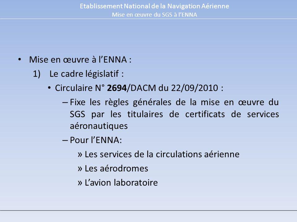 Mise en œuvre à lENNA : 1)Le cadre législatif : Circulaire N° 2694/DACM du 22/09/2010 : – Fixe les règles générales de la mise en œuvre du SGS par les titulaires de certificats de services aéronautiques – Pour lENNA: » Les services de la circulations aérienne » Les aérodromes » Lavion laboratoire Etablissement National de la Navigation Aérienne Mise en œuvre du SGS à lENNA