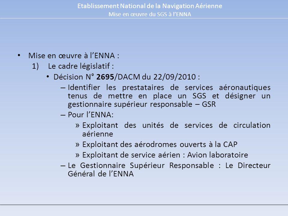 Mise en œuvre à lENNA : 1)Le cadre législatif : Décision N° 2695/DACM du 22/09/2010 : – Identifier les prestataires de services aéronautiques tenus de