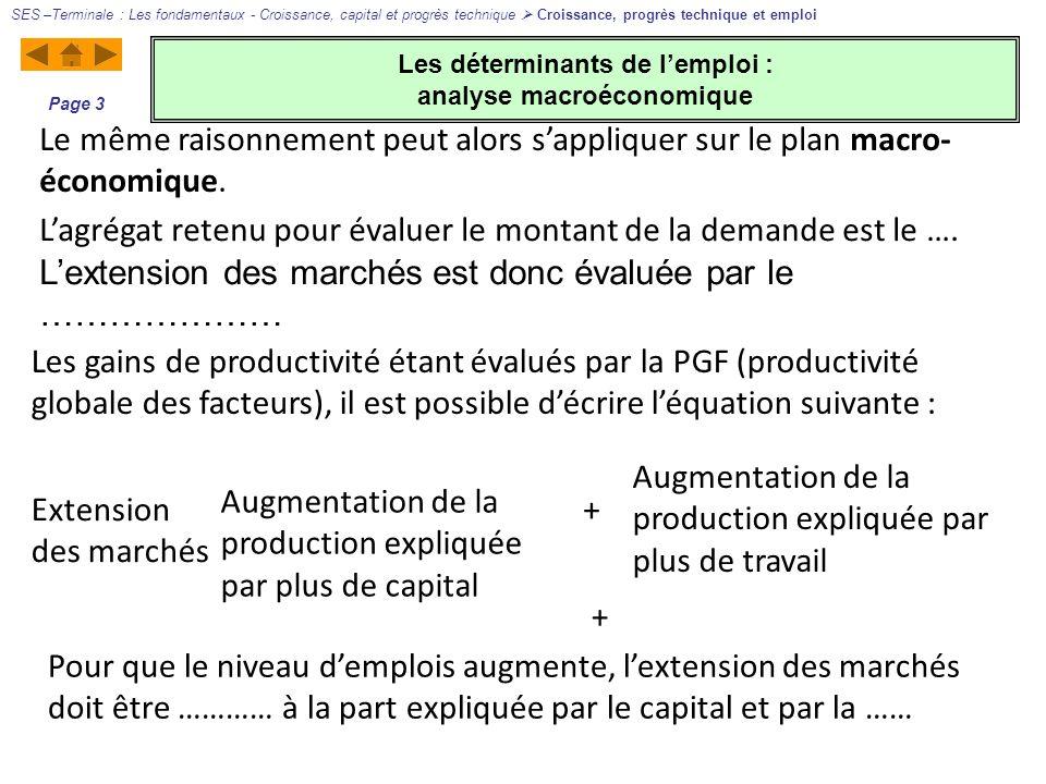 Les déterminants de lemploi : analyse macroéconomique SES –Terminale : Les fondamentaux - Croissance, capital et progrès technique Croissance, progrès technique et emploi Page 3 Le même raisonnement peut alors sappliquer sur le plan macro- économique.