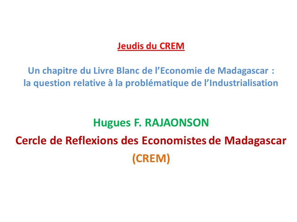 Jeudis du CREM Un chapitre du Livre Blanc de lEconomie de Madagascar : la question relative à la problématique de lIndustrialisation Hugues F.