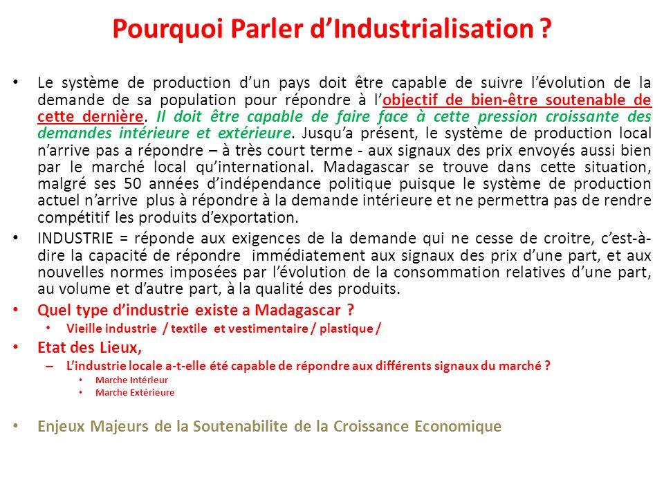 Pourquoi Parler dIndustrialisation .
