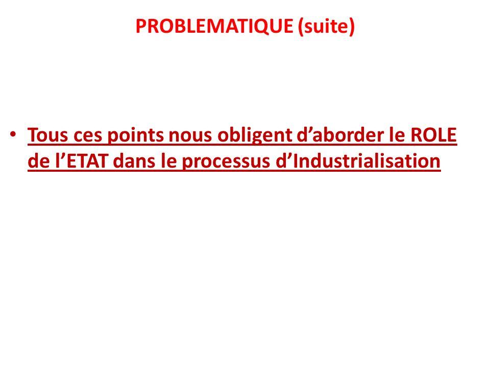 PROBLEMATIQUE (suite) Tous ces points nous obligent daborder le ROLE de lETAT dans le processus dIndustrialisation